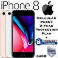 Apple 64GB iPhone 8 *UNLOCKED* W/Cellular Phone 2-Year Protection Plan + Accidental Damage Coverage