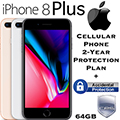 Apple 64GB iPhone 8 Plus *UNLOCKED* W/Cellular Phone 2Yr Protection Plan+Accidental Damage Coverage