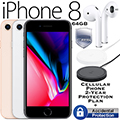 Apple 64GB iPhone 8 *UNLOCKED* W/ Cell 2-YR Protection + Accidental Plan, Airpods & Wireless Charger