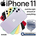 Apple 64GB iPhone 11 *UNLOCKED* w/Cellular Phone 2Yr Protection Plan+Accidental Damage Coverage