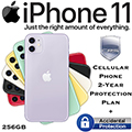 Apple 256GB iPhone 11 *UNLOCKED* w/Cellular Phone 2Yr Protection Plan+Accidental Damage Coverage