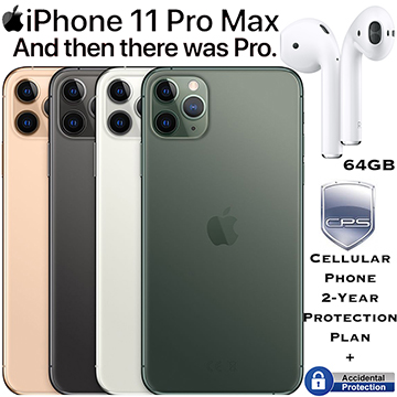 Apple 64GB iPhone 11 Pro Max *UNLOCKED* & 2Yr Plan+Accidental Bndld W/AirPods&Wireless Charging Case