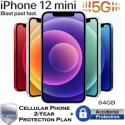 Apple 64GB iPhone 12 Mini *UNLOCKED* w/Cellular Phone 2Yr ProtectionPlan+Accidental Damage Coverage