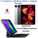 "Apple 11"" iPad Pro (Latest Model) 128GB with Wi-Fi + Cellular Bundled w/ Pencil,Keyboard,&AppleCare+"