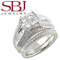 Women's 14K White Gold Diamond Bridal Ring Set