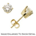 Women's 14K Yellow Gold Round Cut Solitaire Earrings with .33 Total Carat Weight Diamonds