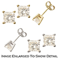 Women's 14K Gold Stud Earrings with .50TCW Princess Cut Diamonds - Choice of White or Yellow Gold