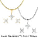 "Women's 14K Gold & Diamond Princess Cut Solitaire Pendant on 18"" Snake Chain with Matching Earrings"