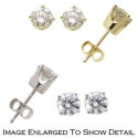 Women's 14K Yellow Gold Round Cut Solitaire Earrings with .40 Total Carat Weight Diamonds