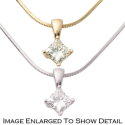 Women's 14K Gold Diamond Princess Cut .25CT Solitaire Pendant with 18� Snake Chain Necklace