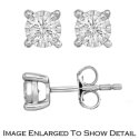 Women's Sterling Silver Diamond Solitaire Stud Earrings with .50Total Carat Weight Diamonds