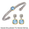 Women's Sterling Silver Cable Cuff Bracelet & Earring Set Featuring an 18K Gold Trimmed Blue Topaz