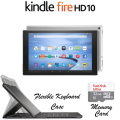 Kindle 64GB FireHD 10.1 Tablet W/Keyboard, Lthr OrigamiCase & 2Yr Protection Plan+Accident Coverage