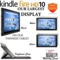 "Largest Display & Thinnest Kindle 16GB Fire HD 10 10.1"" Tablet With Keyboard, 5thGen Case & 2Yr Plan"
