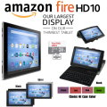 """Largest Display & Thinnest Kindle 16GB Fire HD 10 10.1"""" Tablet With Keyboard, 5thGen Case & 2Yr Plan"""