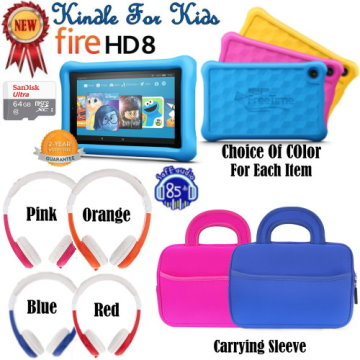 Kindle Kid's E-Reader Package W/Screen Protector, 64GB SD Card, Headphones & Carry Sleeve