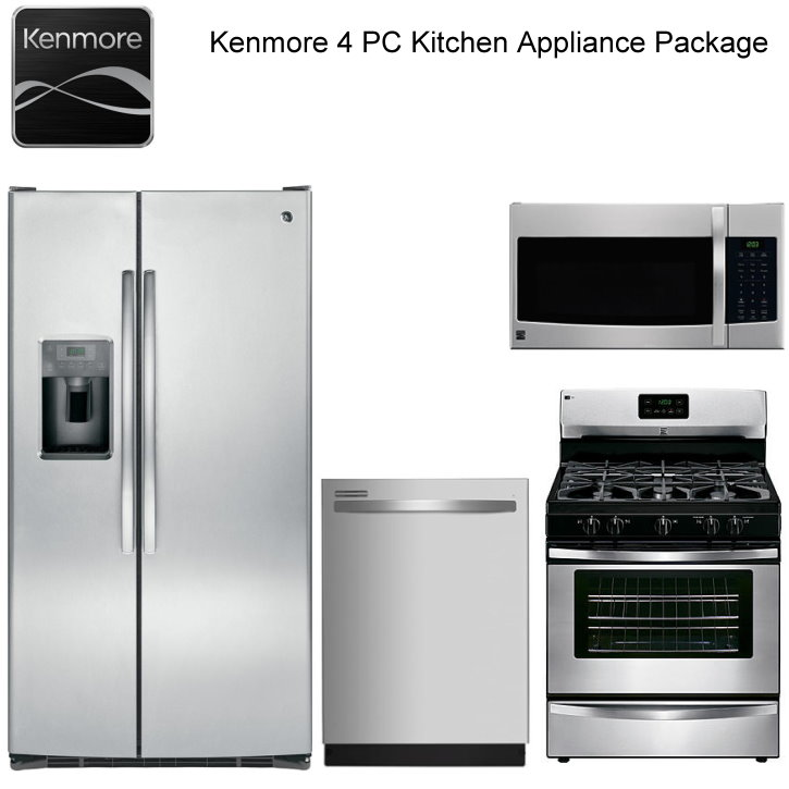 Kenmore 4PC Stainless Steel Kitchen Appliance Pkg-Side By Side ... on