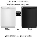 """Kenmore 24"""" Built-In Dishwasher w/ PowerWave Spray Arm- Available In White Or Black"""