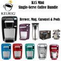 Keurig K15 Single-Serve Coffee Maker Bundle With Travel Mug, Carousel & 48 Count K-Cup Variety Pack