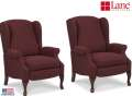 Double Up & Save w/Bookend Recliners Wingback Style in Burgundy Upholstery & Queen Anne Leg Style