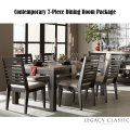 Clean Contemporary 7-Piece Dining Package Featuring Two-Tone Charcoal In Stone Finish