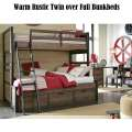 Warm Rustic Design Twin over Full Bunkbeds Featuring Underbed Storage in a Tawny Brown Finish