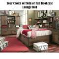 Your Choice of Twin or Full Bookcase Lounge Bed in a Rustic Tawny Brown Color Finish