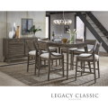 Mid Century Modern 7-PC Pub Table Set Featuring Greystone Ash Brown Finish in a Cool Sleek Design
