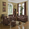 Fresh Clean Modern Lines Genuine Top Grain Leather In Brown; Pocketed Coil Seating for Extra Comfort