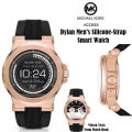 Michael Kors Access Dylan Men's Silicone-Strap Smart Watch In Rose Gold Stainless Steel