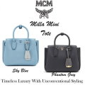 MCM Mini Milla Pebbled Leather Tote With Detachable Strap - Available In Grey Or Blue