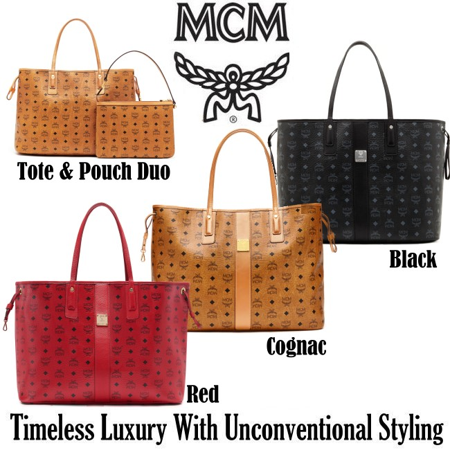 ffc8ab2881bb MCM Large Reversible Liz Visetos Shopper with Pouch- Available In 3 ...