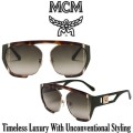 MCM Collection Squared Aviator Sunglasses With Metal Trim - Available in Havana / Olive Green