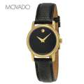 Womens Museum Black Dial Leather Watch with Gold Tone Hands