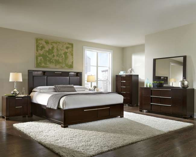 sleek bedroom furniture. sleek 7pc modern bedroom bundle featuring hidden storage on dresser u0026 headboard 4drawers bed luther appliance and furniture