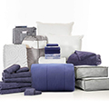 Blue Ombre 24-Piece Twin XL Bedding & Bath Bundle with FREE Bonus Storage Trunk