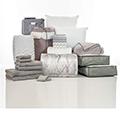 Kiss Pleat Calypso & Gray 24-Piece Twin XL Bedding & Bath Bundle with FREE Bonus Storage Trunk