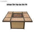 Cambridge Artisan Tile Top Gas Fire Pit, Lava Rocks � Available In Aluminum/Tan