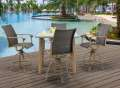 Hanover Hermosa 5-Piece Bar Set - Square Table with 5 Aluminum Dining Chairs
