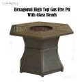 Cambridge Hexagonal High Top Gas Fire Pit, Aluminum Top, Glass Beads � Available in Brown/Aluminum