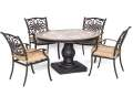 Hanover Natural Oat Monaco 5-Piece Dining Patio Set - Tile Top Dining Table & 4 Chairs