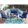 PHI VILLA 4 Piece Patio Sets, Outdoor Metal Furniture Patio Conversation Set