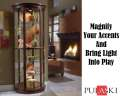 Pulaski HalfRound Curio Featuring Glass Doors, Mirrored Back, Adjustable Shelves & Interior Lighting