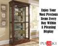 Pulaski Curio In Dark Wood Featuring TwoWay FeltLined Sliding Door W/Lock & Adjustable Glass Shelves