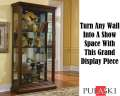 Pulaski Dark Wood Traditional Curio With Sliding Right Side Entry, Mirrored Back & Halogen Lighting