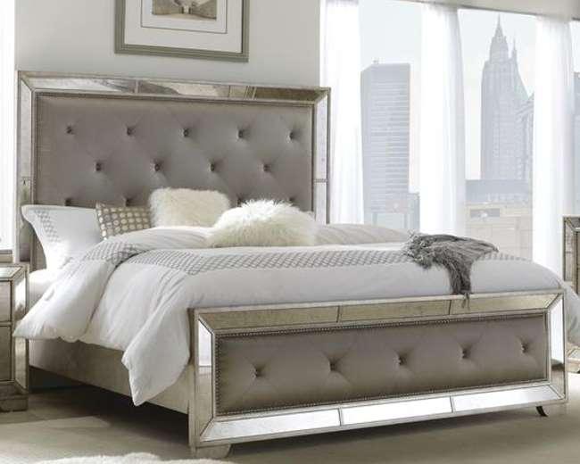 Glamouru0026Opulence Create This Bedroom Pkg W/Multi Step Metallic Finish U0026  Platinum Fabric On Headboard | Luther Appliance And Furniture