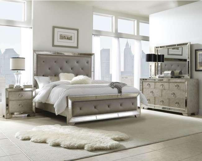 Glamouru0026Opulence Create This Bedroom Pkg W/Multi Step Metallic Finish U0026  Platinum Fabric On Headboard   Luther Appliance And Furniture
