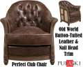 Old World Button Tufted Leather & Nail Head Trim Define This Classic Club Room Chair