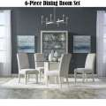 "Absolute Elegance; 6-PC Dining Set;  54"" Round Table in Vanilla Perimeter Finish & Matching Chairs"