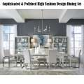 Sophisticated & Polished High Fashion Design Dining Set in Cream High Gloss Finish